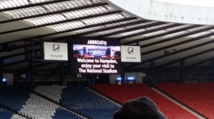 It finished 2-1 to Queen's Park, but the Arbroath goal was so late they didn't bother updating the scoreboard so you have this shot instead.