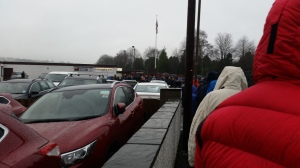 Chucking it down and near freezing but still queued out the door. It can only be the Scottish Cup.